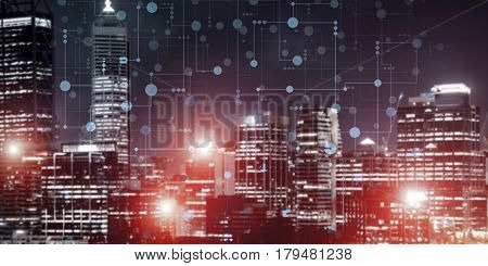 Conceptual background image with night city scape and modern connections concept
