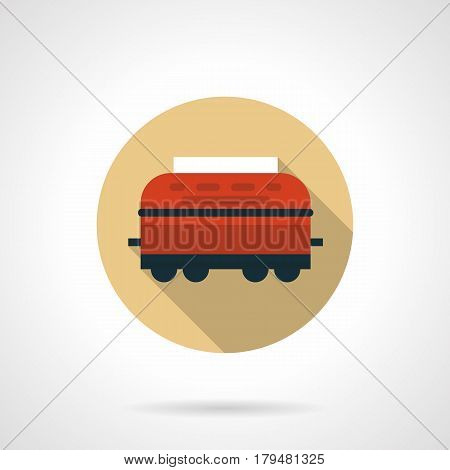 Red wagon refrigerator for transportation of perishable products or freight. Railroad car symbol. Round flat design beige vector icon, long shadow.