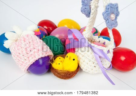 beautiful knitted caps and baskets for Easter