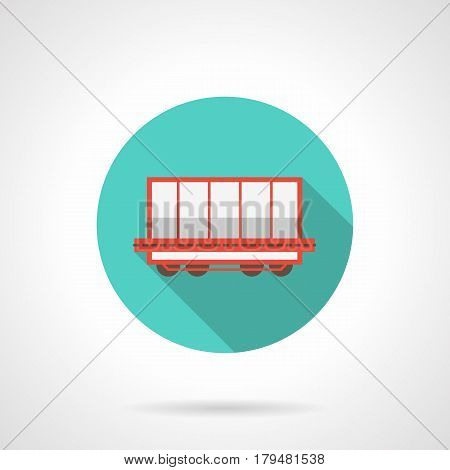 Open rail boxcar for transportation of bulk freight - coal, ores. Railroad transportation symbol. Round flat design blue vector icon, long shadow.