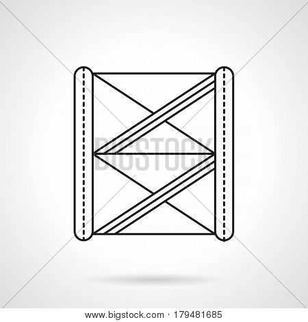 Abstract symbol of stage construction for fixing spotlights, sound. Aluminum truss system. Flat black line vector icon.