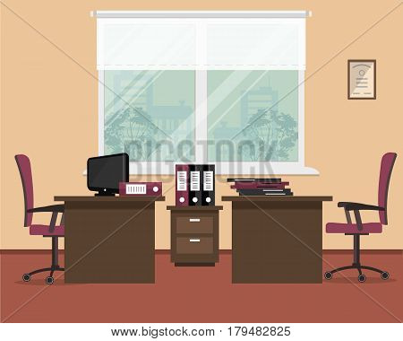 Office in orange-burgundy colors. Workplace for two workers. There are desks, chairs, a computer, folders and other objects in the picture. Vector flat illustration.