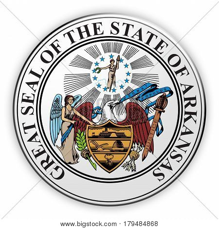 Badge US State Seal Arkansas 3d illustration