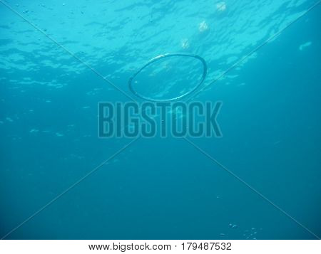 Blue ring bubble in deep blue sea