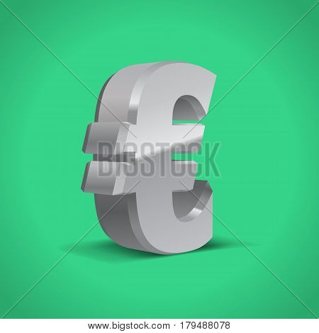 Grey-Silver 3d Euro Sign. Currency symbol. Vector Illustration. Isolated on Green Background