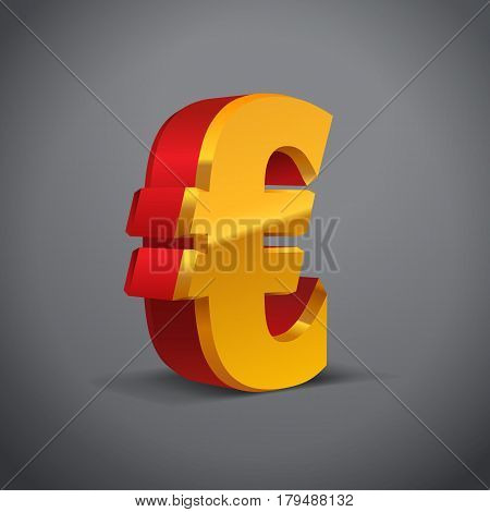 Red-Yellow-Gold 3d Euro Sign. Currency symbol. Vector Illustration. Isolated on Grey Background