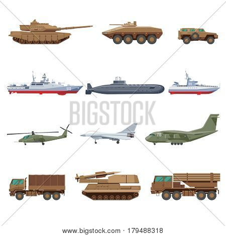 Military vehicles set with air marine underwater and ground war transport isolated vector illustration