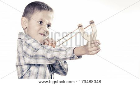 Kid Holding Slingshot In Hands