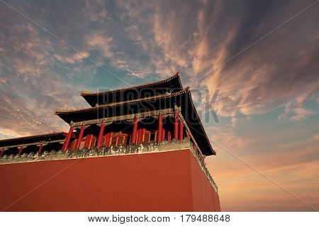 Image of historical imperial palace with twilight sky in the Forbidden City at Beijing China