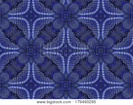 Kaleidoscopic blue pattern is computer graphics and it can be used in the design of textiles in the printing industry in a variety of design projects.