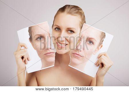 blond woman breaks her old ugly skin