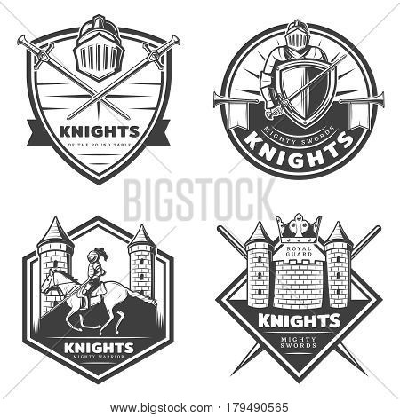 Vintage medieval emblems set with swords shield castle and knight in steel armor riding horse isolated vector illustration