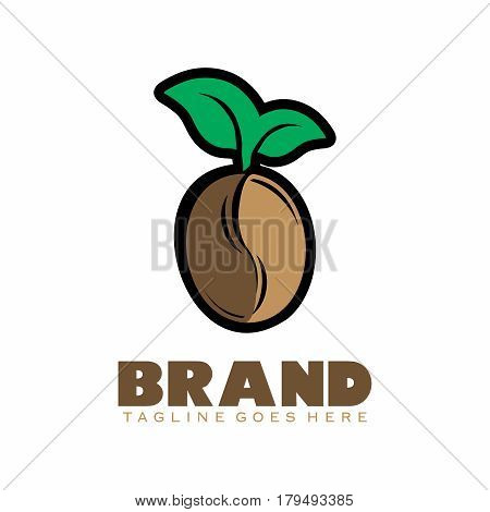 Vector Cartoon Cute and Happy Coffee Beans Logo Symbol with Green Leaf Sprouting on top