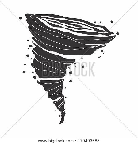 Vector Cartoon Monochrome Illustration of tornado ripping through the area
