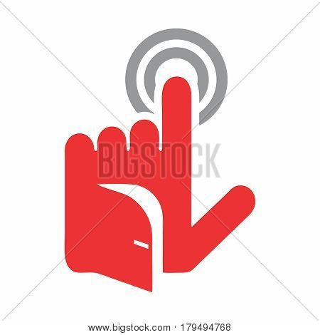 Vector Conceptual Logo of Smart Home Intelligent Security, tapping finger with opened door on the hand.