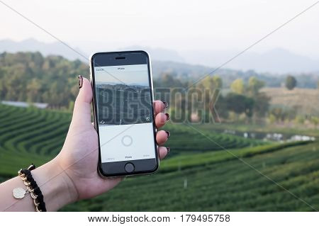 CHIANG MAI THAILAND - DEC 12 2016: A woman hand holding iphone with using camera of instagram application. Instagram is largest and most popular photograph social networking.