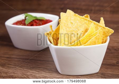 Salted Potato Crisps And Sauce In Bowls On Board, Concept Of Unhealthy Food
