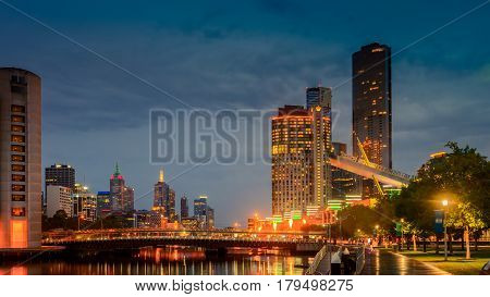 Melbourne Australia - December 27 2016: Crowne Plaza Hotel and Crown Casino fire show in Melbourne city at night viewed from Southbank