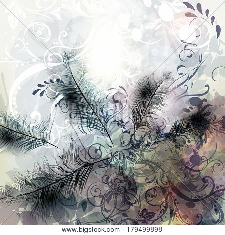 Feather fashion background in grey-blue color for design