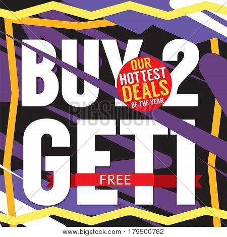 Buy 2 Get 1 Free Hottest Deal Promotion Sale Banner Vector Illustration. EPS 10