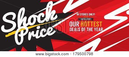 Shock Price Hottest Deal Promotion Sale Banner Vector Illustration. EPS 10