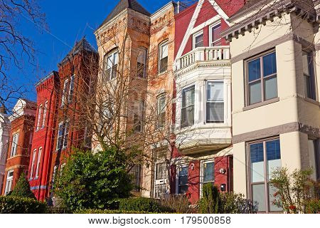 Historic architecture of Mount Vernon Square in Washington DC USA. Residential brick row houses in US Capital.