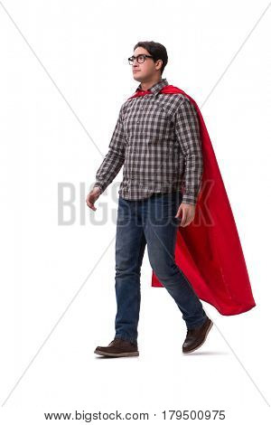 Super hero wearing red cover on white