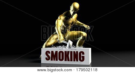 Eliminating Stopping or Reducing Smoking as a Concept 3D Illustration Render