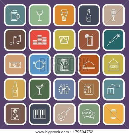 Bar line flat icons on purple background, stock vetor