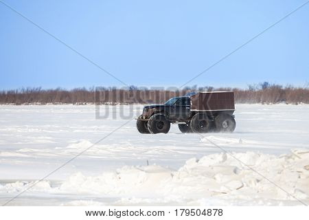 KHABAROVSK RUSSIA - JANUARY 28 2017: Homemade cross-country vehicle