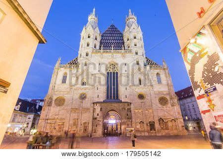 VIENNA, AUSTRIA - APRIL 11, 2015: Facade of St. Stephen's Cathedral (more commonly known by its German title: Stephansdom) is the mother church of the Roman Catholic Archdiocese of Vienna. Austria.
