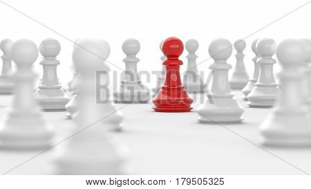 Leadership concept red pawn of chess standing out from the crowd of white pawns on white background. 3D rendering.