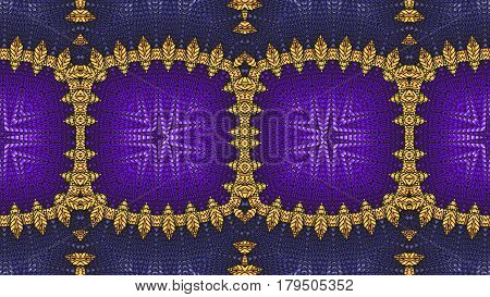 Kaleidoscopic purple and yellow pattern is computer graphics and it can be used in the design of textiles in the printing industry in a variety of design projects.