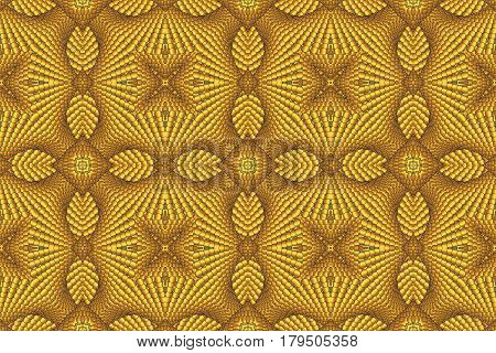 Kaleidoscopic yellow seamless pattern is computer graphics and it can be used in the design of textiles in the printing industry in a variety of design projects.