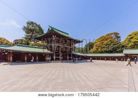 TOKYO, JAPAN - APRIL 19, 2014: Imperial Meiji Shrine located in Shibuya Tokyo shrine that is dedicated to the deified spirits of Emperor Meiji and his wife Empress Shoken
