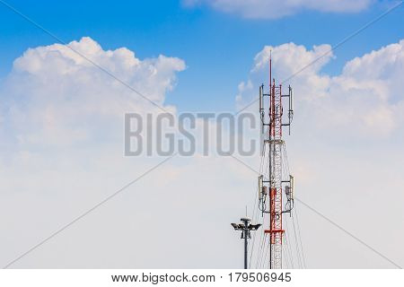 Telecommunication Radio Antenna and Satelite Tower with blue sky