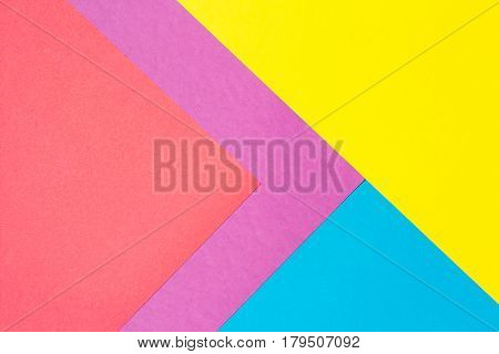 Composition with blue, purple, yellow and red sheets triangle