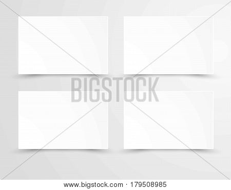 Empty sheets of paper in realistic design flat and shadow style isolated on white. Mockup template with empty pages, four rectangle posters with copy space blank lists, canvas bulletins vector