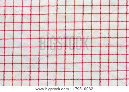 Tablecloth checkered red and white texture background high detailed