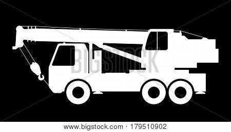 Crane Silhouette on a black background. Vector illustration.