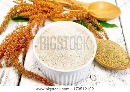 Flour Amaranth In White Bowl With Spoon On Light Board