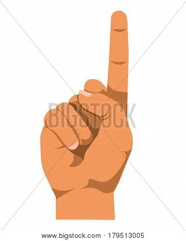 Vector realistic illustration of arm pointing direction or going to press button. Hand gesturing nonverbal communication in flat design. Human palm with one straight finger attention concept