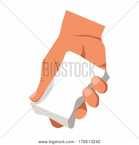 Human hand holding white duster for cleaning or piece of soap isolated. Household duties concept logotype. Vector illustration in flat design of arm keeping special object for clearance purification