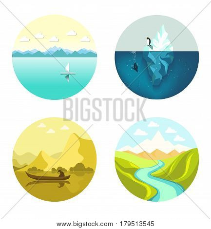 Landscape abstract round icons vector flat set isolated on white. Narrow river in mountains in summer weather, penguins in water and near iceberg, sailing and ordinary boats floating on river
