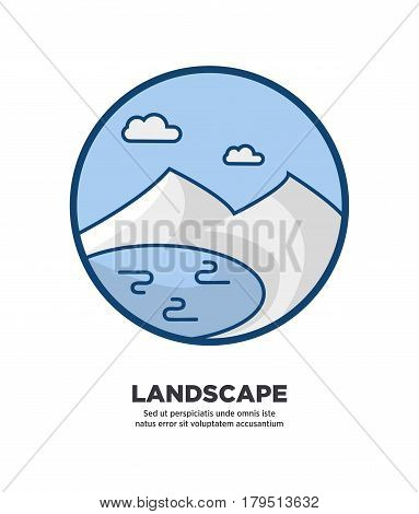 Landscape logo icon in circle shape with text below isolated on white. Vector colorful illustration in flat design of round sign in blue colors with river surrounded by mountains and clouds on sky