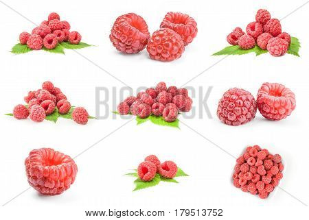 Collection of sweet raspberry isolated on white