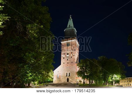 Medieval Lutheran cathedral of the city of Turku in a night landscape. Finland