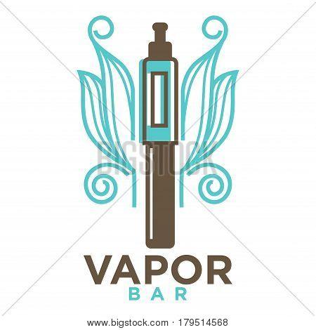 Vapor bar logo design isolated on white. Vape e-cigarette emblem vector illustration. Professional vapeshop logotype label sticker. Electronic cigarette for store advertising, smoking concept