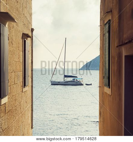The streets of Vis, Croatia. Traveling, journey, summer concept.
