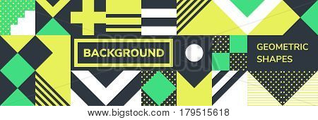 Simple banner of decorative seamless patterns square modules colored geometric composition in Scandinavian style